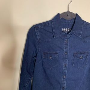 Gap Dark Wash Denim Classic Western Shirt